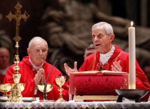 "Cardinal Theodore E. McCarrick, retired archbishop of Washington, and Cardinal Donald W. Wuerl of Washington, concelebrate a Mass of thanksgiving in 2010 in St. Peter's Basilica at the Vatican. Pope Francis accepted the resignation from the College of Cardinals of Archbishop McCarrick, and has ordered him to maintain ""a life of prayer and penance"" until a canonical trial examines accusations that he sexually abused minors. (CNS photo/Paul Haring) See WUERL-MCCARRICK-INTERVIEW Aug. 1, 2018."