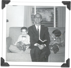 Left to Right: My brother David, my dad, and me...dressed from going to Joy Road Baptist Church